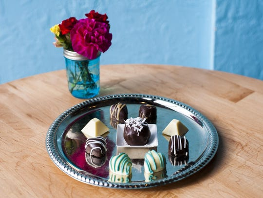Handmade chocolates by Kelly Speidel displayed, front