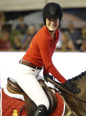 Jessica Springsteen competes in the 2014 edition of the Jumping International of Monaco horse jumping competition as part of the Global Champions Tou in Monaco.