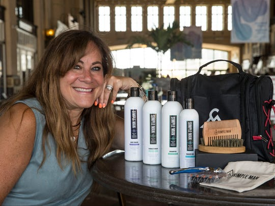 Small business spotlight on Robyn Cohen who sells Simple Man men's grooming products.Asbury Park, NJTuesday, July 18, 2017@dhoodhood