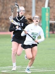 Pascack Valley senior defender Jamie Bader (3) scooped up five ground balls in a win over Wayne Hills in the state tournament.