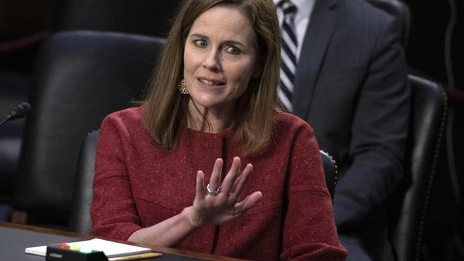 Supreme Court nominee Amy Coney Barrett speaks during a confirmation hearing Oct. 13 before the Senate Judiciary Committee.
