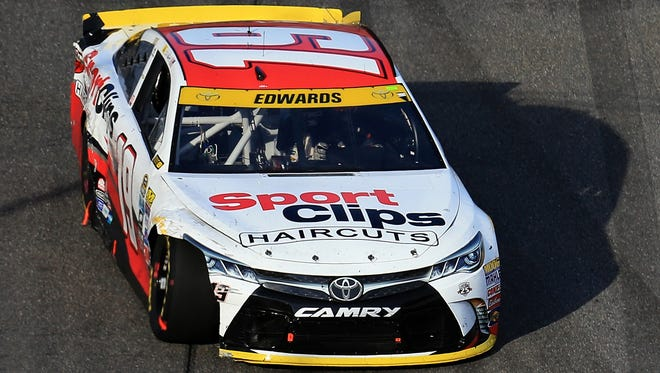 Damage to the Toyota of Chase driver Carl Edwards prompted a return to the garage.