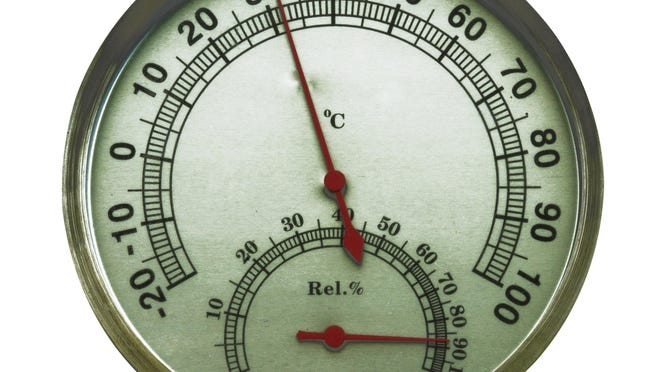 old metal framed hygrometer with a thermometer