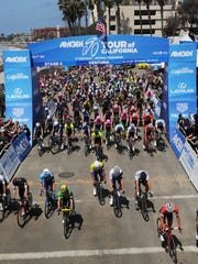 Riders start Stage 2 of the Tour of California at the Ventura Pier in 2018. The men's fifth stage will end in Ventura on Thursday, the same day the women's race starts in the city.
