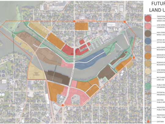 The brown, tan and yellow sections show where housing