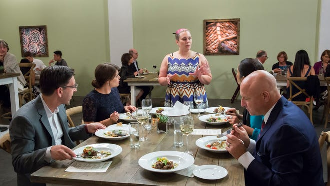 "TOP CHEF -- ""Restaurant Wars Part 2"" Episode 1310 -- Pictured: (l-r) Bill Chait, Gail Simmons, Karen Akunowicz, Padma Lakshmi, Tom Colicchio."