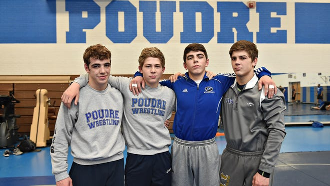 Poudre High School wrestlers, from left, Jacob Greenwood, Brody Lamb, Job Greenwood and Owen Lamb will compete at the state tournament in Denver this weekend. Brothers Brody and Owen Lamb are cousins to brothers Jacob and Job Greenwood.