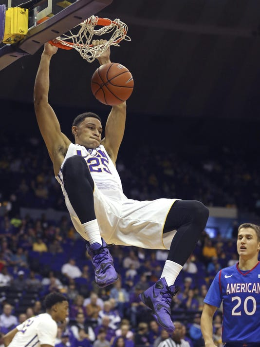 NCAA Basketball: American U. at Louisiana State