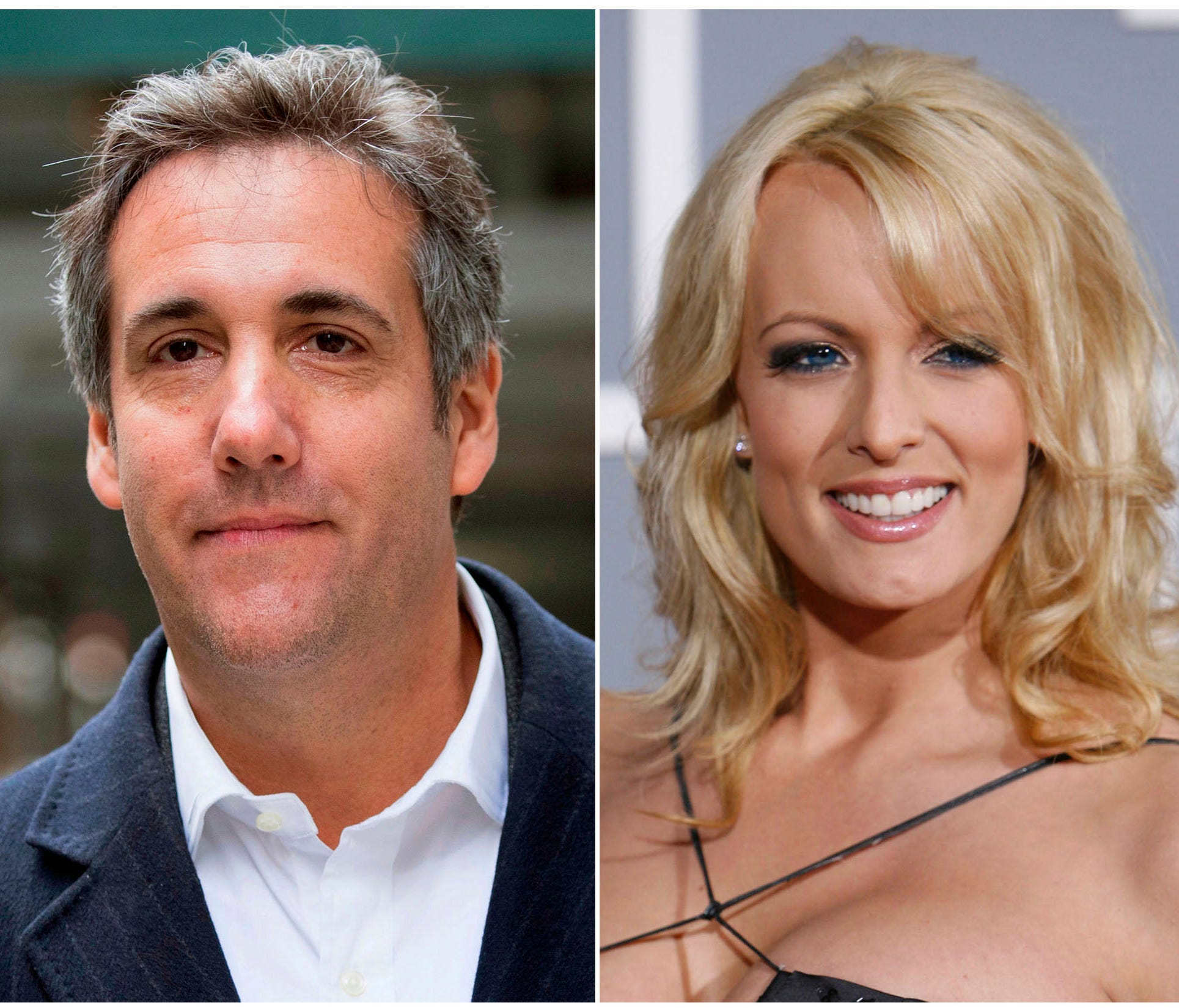 This combination photo shows, from left, President Trump, attorney Michael Cohen and adult film actress Stormy Daniels.