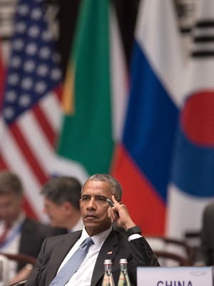 U.S. President Barack Obama attends the opening ceremony of the G20 Leaders Summit in Hangzhou Sunday, Sept. 4, 2016.