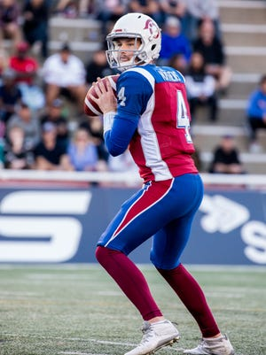 Former Camarillo High quarterback Jeff Mathews is playing for the Montreal Alouettes,   his third CFL team this season.