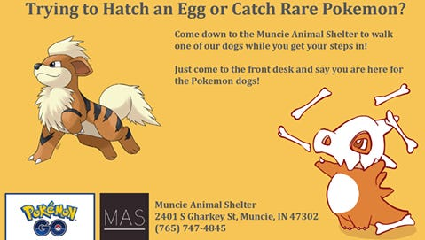 This offer to Pokemon Go trainers to walk an adoptable dog was too much for the Internet to handle Tuesday.