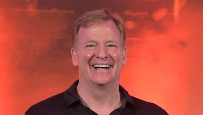 NFL commissioner Roger Goodell reacts at NFL UK Live at the Landmark Hotel.