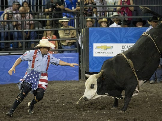 Bullfighter Blue Jeanes works for Frontier Rodeo Company,