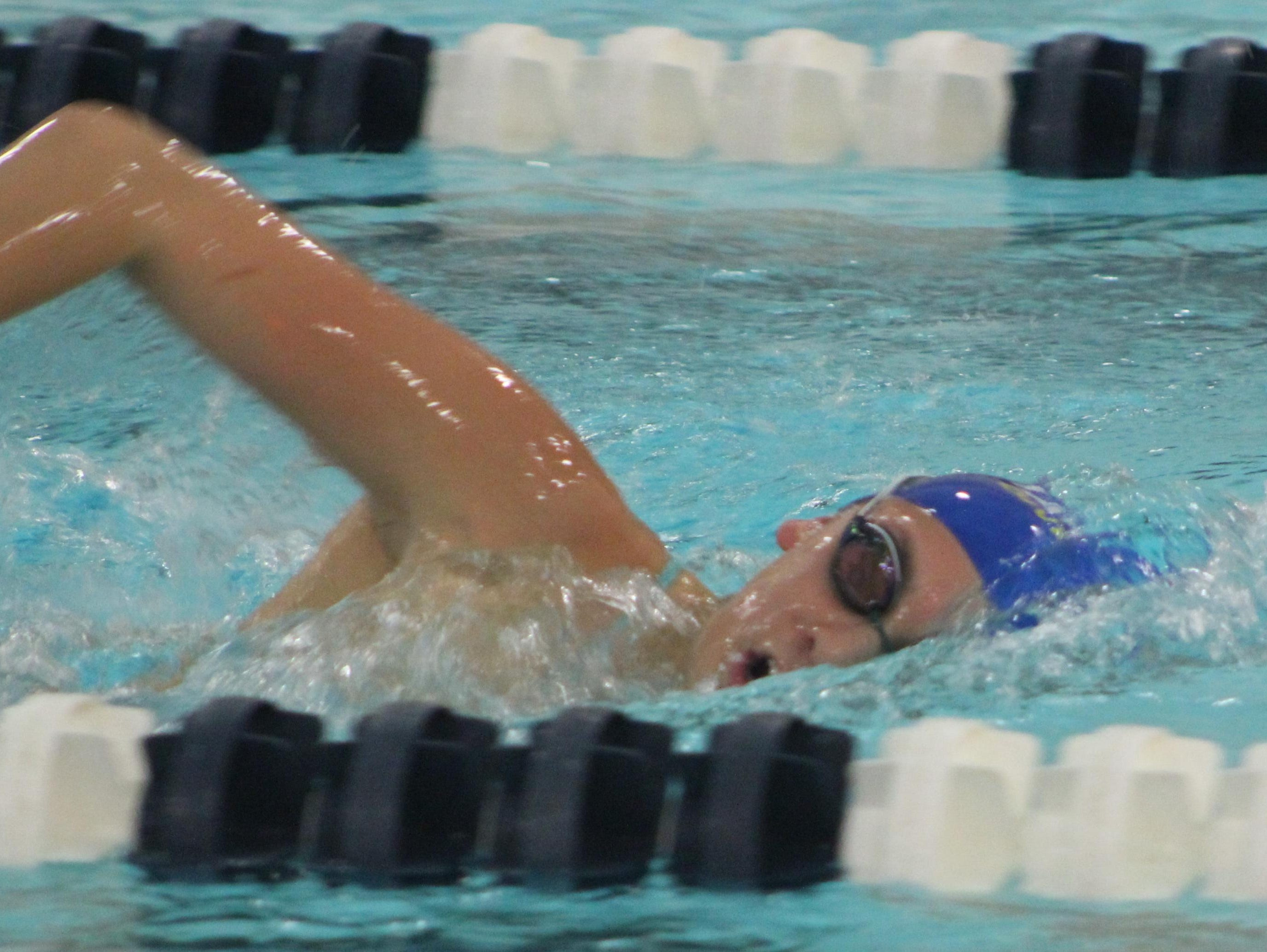 Marian junior Sophia Schott proved the state's fastest swimmer with a personal-best time of 22.99 in winning the Division 2 50-yard freestyle. It was the best 50 free time of the three recent state championship meets.