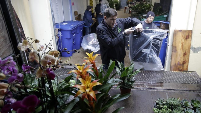 In this Wednesday, Feb. 13, 2019, photo Nick Haschka, owner of The Wright Gardner, center, and Jason Biting, operations associate, load plants onto a delivery truck in South San Francisco, Calif.