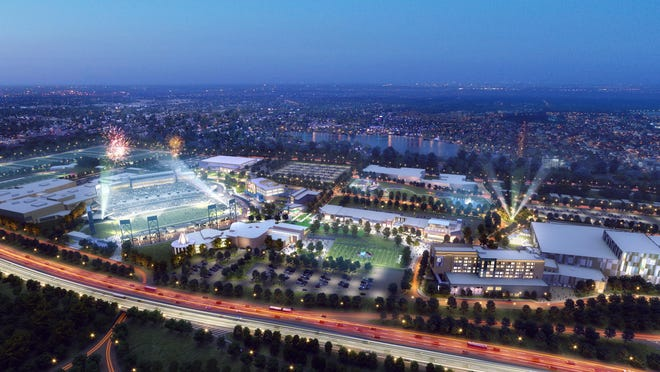 A rendering of the HOF Village at night provided Wednesday by the HOF Village.