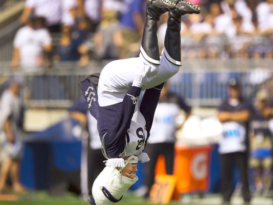 Jimmy Frisbie in mid flip while leading the Penn State