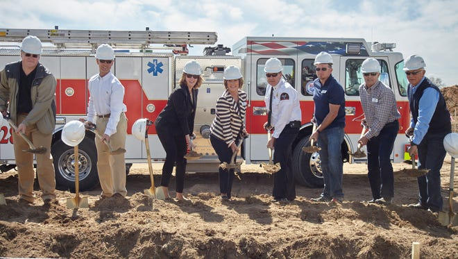 Timnath officials join Poudre Fire Authority chief Tom DeMint for the groundbreaking of Station No. 8 in Timnath.