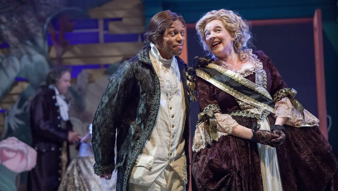 """Sylvester Little Jr. and Miranda McGee are are in the leading cast of Cincinnati Shakespeare Company's production of William Shakespeare's """"Much Ado About Nothing,"""" which plays through Dec. 10."""
