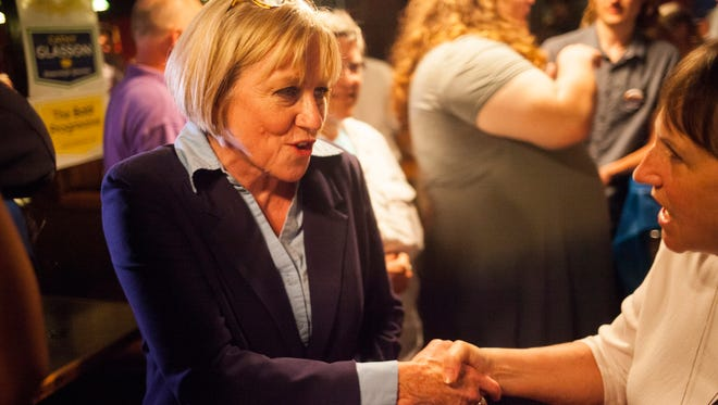 Cathy Glasson talks with supporters at The Mill in Iowa City during her election night party on Tuesday, June 5, 2018. Glasson lost the Democratic nomination for governor to Fred Hubbell.