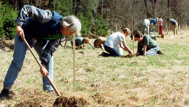 - Volunteers with nonprofit Friends of Winooski River plant trees in Worcester — part of an ongoing program to hold riverbanks and protect water quality in the Lake Champlain watershed.