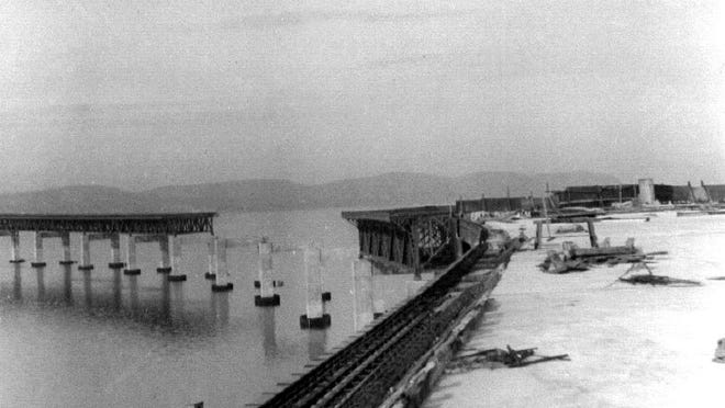 A view of the Tappan Zee Bridge under construction in the 1950s.