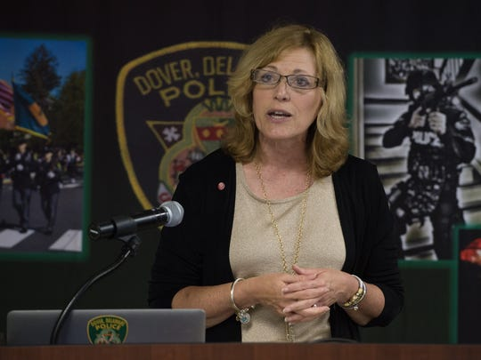 Delaware Department of Health and Social Services Secretary Rita Landgraf speaks about an addiction recovery program on June 30 in Dover. New data indicates a 7 percent increase in the prescription of opiates from early 2013 to late 2014 in Delaware.
