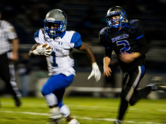 Cedar Crest's Neisso Dorvil  and his Falcon teammates face a key Section 2 matchup at Manheim Central on Friday night.