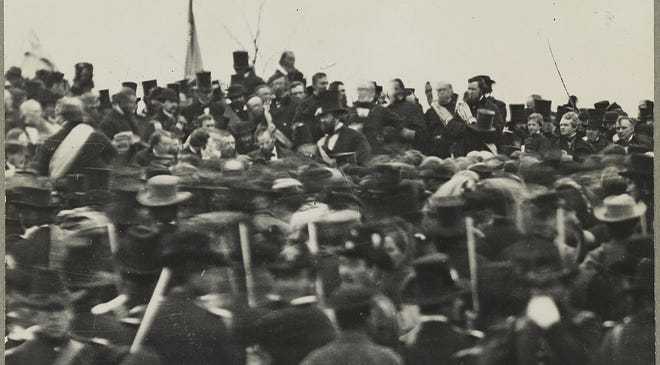President Lincoln at Gettysburg, Pa., on Nov. 19, 1863.  Lincoln is seated about two thirds up from bottom and one third in from left, no hat.