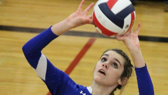 Kaitlyn Brooks has been a leader for the Athens volleyball team in both kills and blocks this season. The Bluejays face Oshkosh Lourdes in a WIAA Division 3 state semifinal Friday.