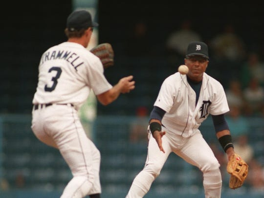 The team of Trammell and Whitaker in action against Milwaukee. Trammell and Whitaker played together from 1977-1995.