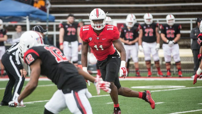 Ball State's Ray Wilborn drops back in coverage during the team's annual spring game on April 14 at Scheumann Stadium.