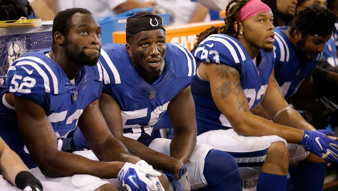 Dejected Colts players on the bench some of the many sad faces  at the Colts game at Lucas Oil Stadium, Sunday, Oct 22, 2017. The Indianapolis Colts lost to the Jacksonville Jaguars 27-0.