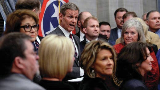 Gov. Bill Lee, announces plans to introduce legislation that would make Tennessee the latest state to allow residents to carry guns without obtaining a permit during a press conference on Thursday in Nashville.