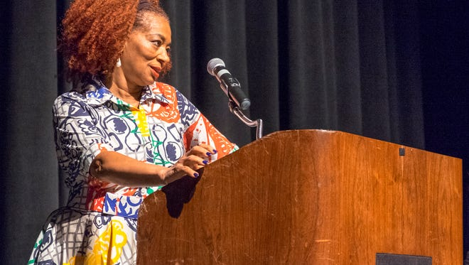 Port Huron native and author Terry McMillan speaks at the Town Hall series at McMorran Oct. 2. The Town Hall series is curently in its 63rd season.
