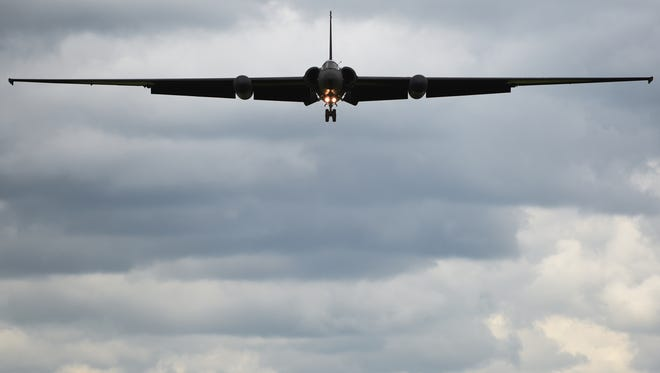 """A U-2S from Beale Air Force Base, Calif., prepares to land at Royal Air Force Fairford, England, June 9. The film """"Bridge of Spies"""" features the U-2, and with the Air Force support, filmmakers were provided access to film the high-altitude, reconnaissance aircraft and gain insights from current U-2 pilots based out of Beale AFB."""