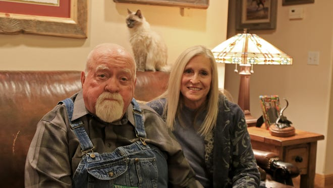 """Wilford and Beverly Brimley sit in their Santa Clara home following an interview about Wilford's upcoming performance in """"Love Letters"""" at the Electric Theater in St. George next month."""