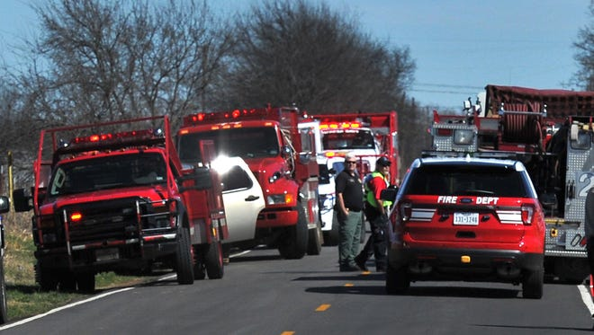 Wichita county emergency vehicles blocked River Road Late Tuesday morning while emergency crews knock down a house fire caused when a man suffered from a medical issue fell onto a hot grill starting the fire. The man was pronounced dead on the scene.