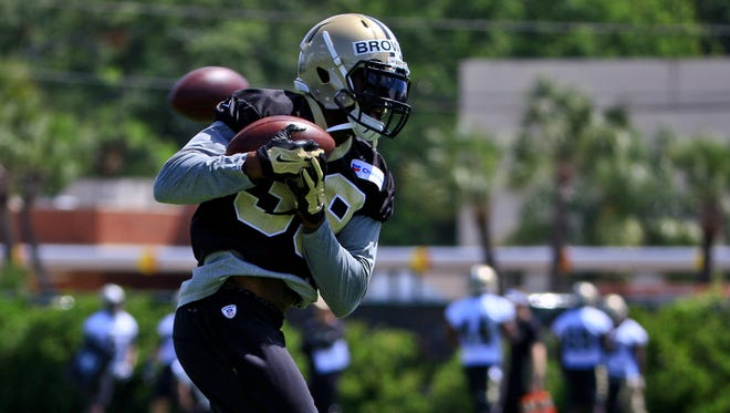 New Orleans Saints free-agent acquisition cornerback Brandon Browner catches a pass during Thursday's organized team activities at the Saints training facility in Metairie.