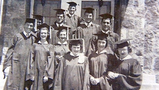 These a re some of the seniors who made up the Mountain Home High School Class of 1951.The boys are (from left) Charlie Loveland, Bill Helden, Eddie Dickerson, Charles O'Dell, Gerald Morelock and Richard Tutt. Girls are (from left) Eva Dover, Wanda Dover, Betty Hightower, Wilma Thompson and Virginia Taylor.
