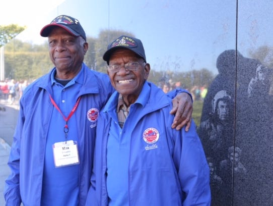 Korean War veteran Maxwell Shavers, left, and his brother