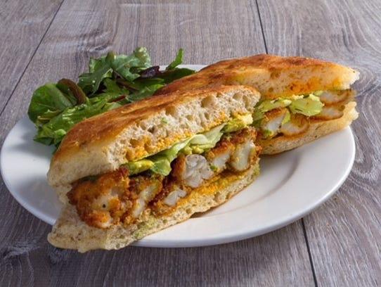 Crispy shrimp sandwich from the Salad House.
