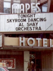 In 1982: An photograph of the Mapes Hotel marquee advertising