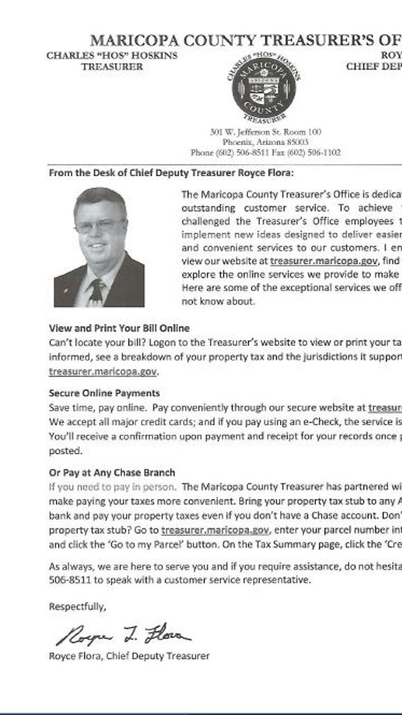 Flier for candidate Royce Flora, included in Maricopa