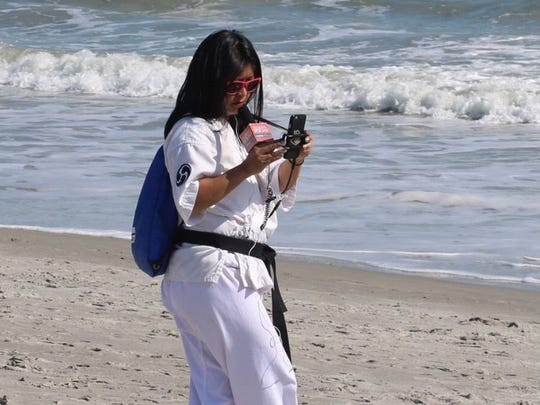 In February 2017, FLORIDA TODAY entertainment reporter Jennifer Sangalang did Facebook Live with 100 karate students on the beach in Cocoa Beach.