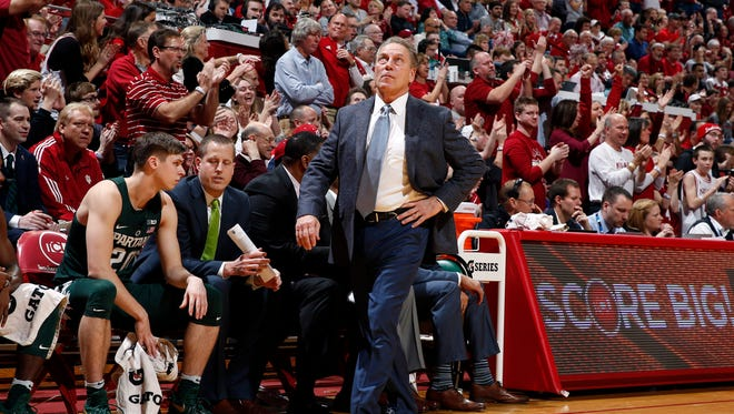 Jan 21, 2017; Bloomington, IN, USA; Michigan State Spartans coach Tom Izzo coaches on the sidelines against the Indiana Hoosiers at Assembly Hall. Mandatory Credit: Brian Spurlock-USA TODAY Sports