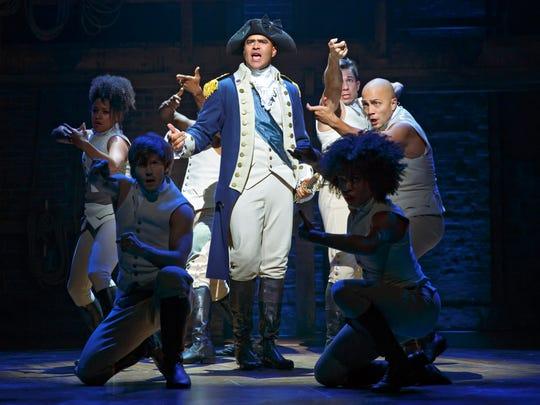 Christopher Jackson plays George Washington in a scene