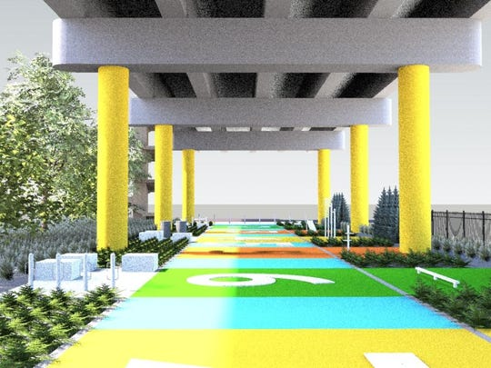 A rendering shows the CrossFit stations that will be housed beneath the Church Street Bridge on 11th Avenue.