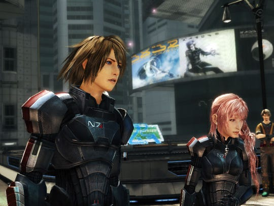 """Noel, left, and Serah make up the main battle party in """"Final Fantasy XIII-2."""""""